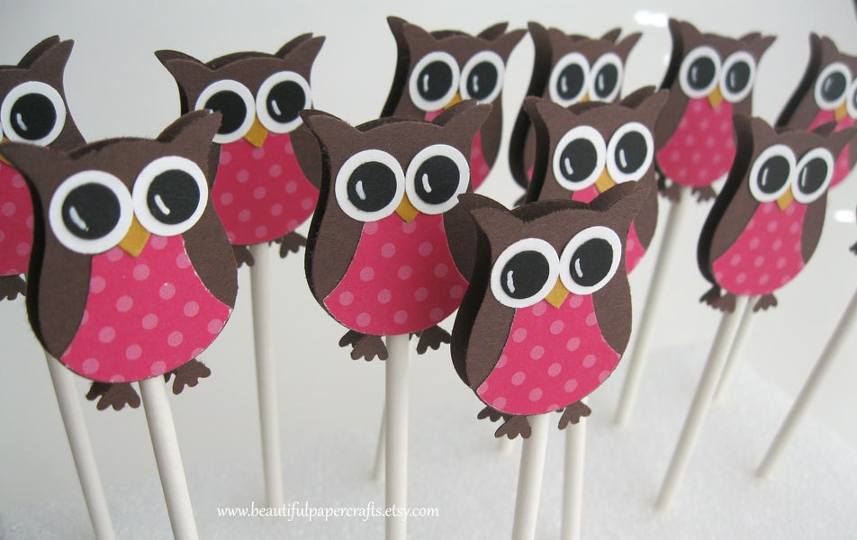 Owl cupcake toppers owl baby shower decorations owl birthday for Baby owl decoration