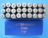 LOWERCASE Metal Stamping Set - 3mm (1/8 inch) - Steel punching stamping stamps - Angelina font
