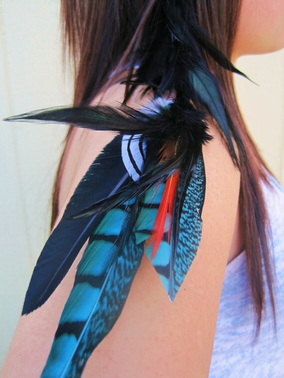 Turquoise and Black Hair Clip or Long Earring