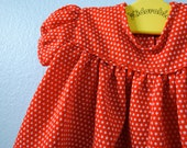 Sweet Vintage Red and White Polka Dot Baby Girl Top, 6-12 months