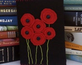 Red Poppies Felt Book Cover