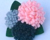 Pink and Gray Felt Flower Trio Hair Clip