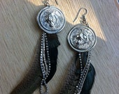Lion Medallion and Feather Earrings