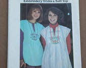 Retro 1970's Vintage Butterick Pattern 4934 Misses Top and Embroidery Transfer Size Med