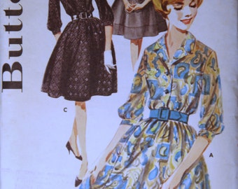 1960's  Vintage Butterick Pattern 2665 Misses Size 14 Shirt dress & Slip Uncut