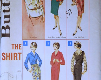 1960's Vintage Butterick Pattern 2945 Misses Shirt Blouse Size 14