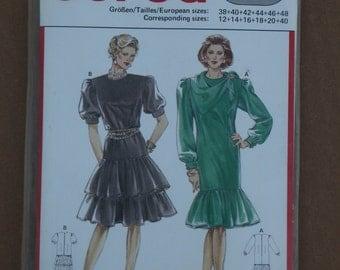 Burda Pattern 5286 Ruffle Skirt Dress and scarf Size 12-40 1990s