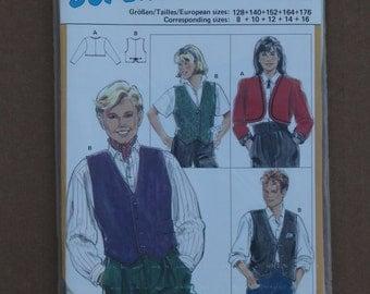 Burda Pattern 5327 Vest and Blazer, Jacket Girls Size 8-16 1990s