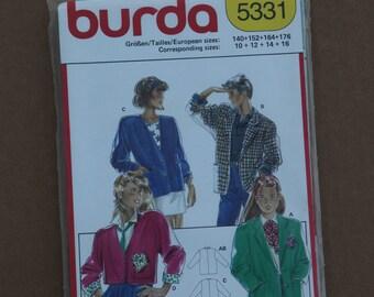Burda Pattern 5331 Blazer, Jacket Girls Size 10-16 1990s
