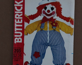 Craft Learning Doll Vintage Butterick Clown Doll Pattern 205   1980s