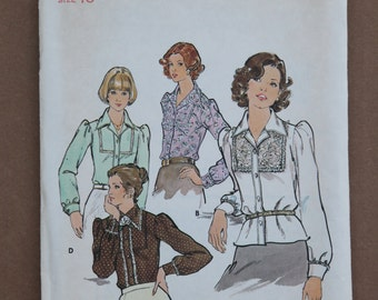 Retro 1970's Vintage Butterick Pattern 3963 Misses Blouse Pointed Collar Size 16