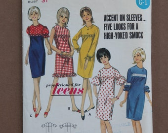 1960's Vintage Butterick Pattern 4136 Teens Junior Size 12S