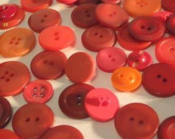 Vintage Grab Bag of 50 Red Buttons R2 with Free Gift Bonus Bag