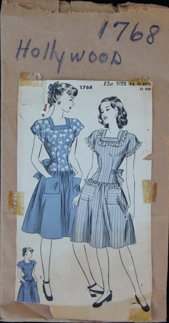 1940's Vintage Pattern Hollywood 1 piece dress 1768