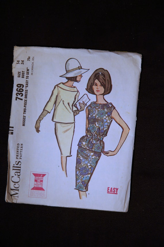 1960's Vintage McCall's 7369, Misses' Two-Piece Dress