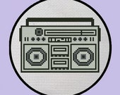 Counted Cross Stitch PDF Pattern of Easy 80's Stereo