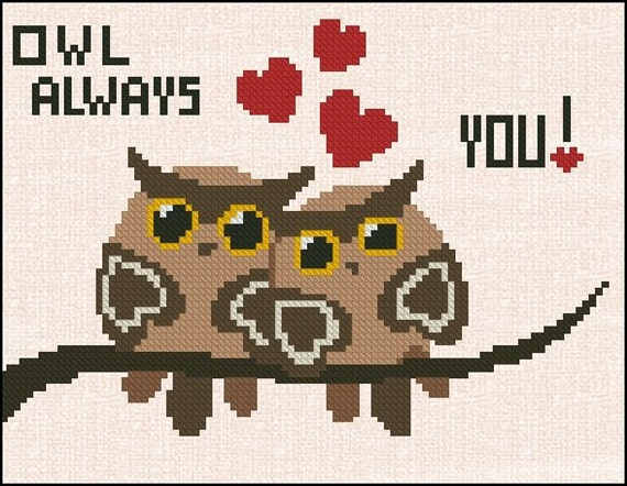 Counted Cross Stitch Pattern - Cross Stitch Pattern Owl Always Love You