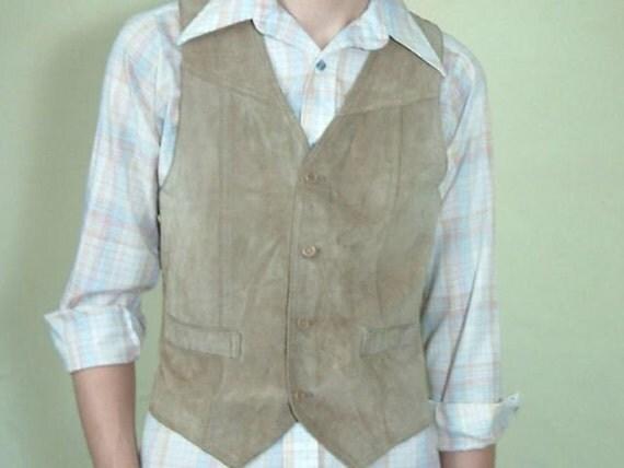 Vintage Men's Tan Suede Vest