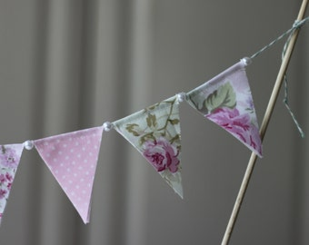 Shabby Chic Cake Bunting, Cake Topper, Fabric Banner, Birthday Decoration, Party Decor
