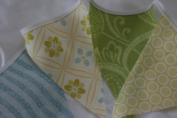 Long Fabric Banner, Pastel Color Bunting, Room or Yard Decor