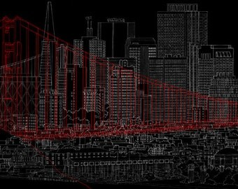 11 X 17 Line Drawing of San Francisco Skyline with Golden Gate Bridge