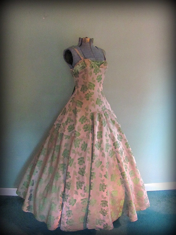 Vintage 40s Ball Gown Mauve and Green Satin Sleeveless by Ann Ashworth Model Size Small