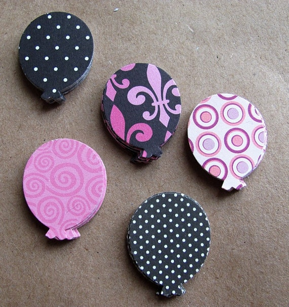 50 Self Adhesive Cardstock Balloons - Pink, Polka-dot & Pattern Variety - Great for Cardmaking and Scrapbooking