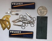 Vintage Midcentury SCHOOL SUPPLIES, Vintage rounded kid scissors,  Vintage Pencils, Midcentury Office supplies