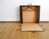 Vintage Poor Man's Suitcase, Luggage for Man, Suitcase Antique, Wooden Hangers, Neva Crease Luggage, Card Board Luggage