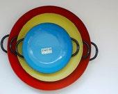 VIntage Enamel Pans, Made in Yugoslavia, Midcentury Enamel Bakeware, Kitchen Home Decor, Gift for Chef Girlfriend, Vintage Enamel