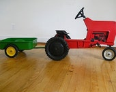 Antique Child's Metal Pedal Car, Vintage Pedal Tractor, Ertl Company Model F - 68, Grandson Gift, Red Tractor, For Kids, Christmas