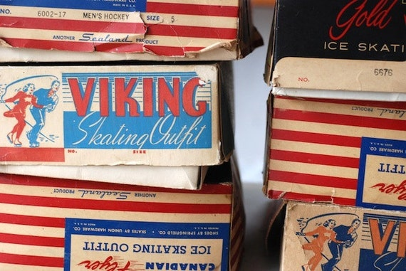 SALE vintage ice skates, viking figure skates, canadian leather ice skates, mid century leather skates, hockey skates, ice skates