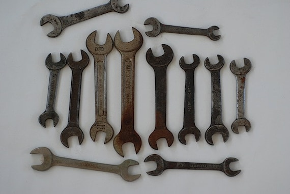 Forged Steel Wrenches, Lot of 12 Wrenches, Vintage tools, Valentines Day Gift For Dad, Fathers Day Gift For HUBBY, Wrench