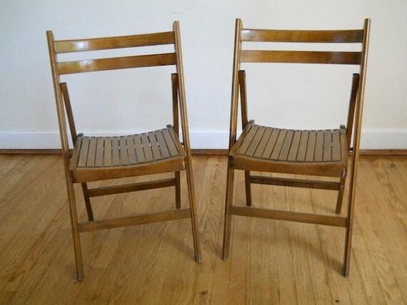 Antique Wooden Folding Chairs, VIntage Midcentury Folding Chairs, Wooden Chairs, Set of Two Town Hall Chairs,  Home Decor