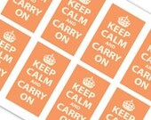 Printable Keep Calm & Carry On - Business Card Size - Apricot Orange - KCAO