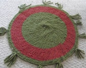 """26x26 Crochet Wool yarn Rag Rug """" Green Envy"""""""