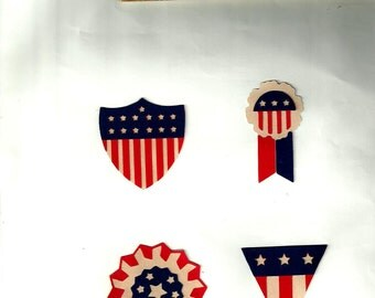 Multi-layered red, white and blue banners