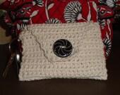 Wristlet Keys Wallet Pouch in Crochet with Button