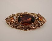 Retro Filigree Brooch Set With Large Topaz Glass Stone