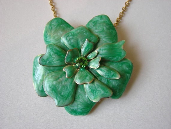 REDUCED 60s Vintage Variegated Green Enamel & Rhinestone Pendant
