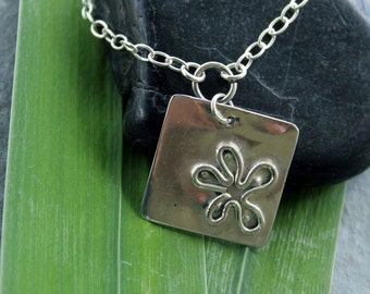 Square pendant with hand formed flower necklace