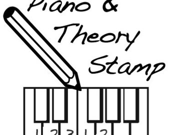 Mini Piano Diagram and Music Theory Rubber Stamp -    A great teacher and student aid. (Keyboard, Musician, Music, Woodwind)