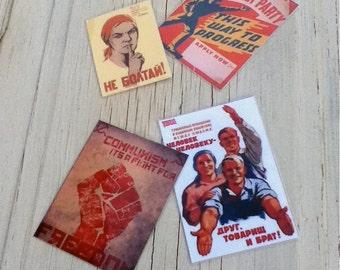 Retro Communist Propaganda Fridge Magnet Set