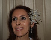 Brides Wedding Head piece pearls, wired crystals, with matching earrings, gold, white, 50th anniversary, Old Hollywood Glamor