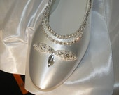 Sale Wedding Shoes Ballet Style Flats,Swarovski Silver Crystals edging, Lace Up Ankle Ribbon, Rounded Toe, Satin Flats, Bling, Old Hollywood