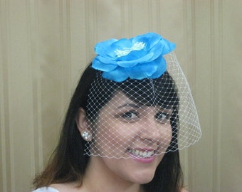 Something Blue Wedding Veil Birdcage with big blue flower, fascinator, retro veil