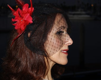 Red Feathers & Black Lace Birdcage Fascinator, short veil, Kentucky Derby, Goth Wedding, Special Occasion, Party headpiece