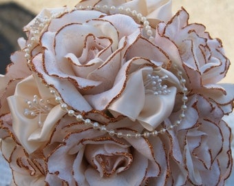 Brides Wedding Bouquet Victorian style made with velvet roses, pearls and hints of gold, Bridal Bouquet, Old Hollywood, Deco, Romantic