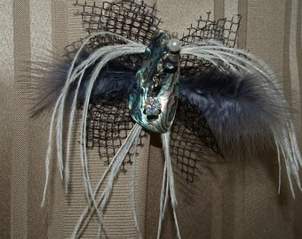 SALE Shell and feathers Head piece for women