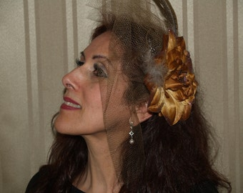 Brown Bronze Flower Fascinator 1940s retro with brown netting over one side of the face, birdcage, formal event, Mother of the Bride